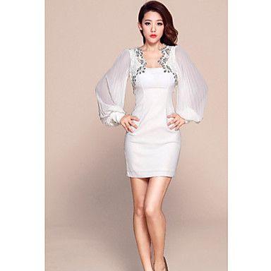 Manga Fit Bodycon del vestido del club de noche FES Mujeres Blanco largo de la gasa del diamante – EUR € 19.79