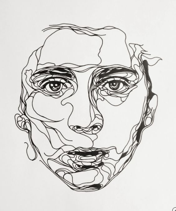 I like the way this drawing looks like a continuous line, whilst remaining realistic. I like the way the artist has used bold expressive lines to show the tone on the face, rather than blending the ink.