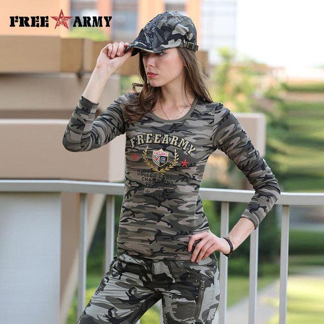 Brand T Shirt Long Sleeve Women Autumn Cotton Printing T Shirts Women Tops Tees Military Slim Spandex Casual Camo Shirt Gs-8359B