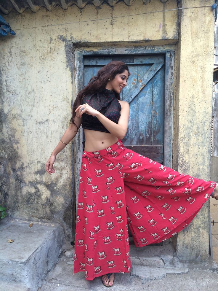 Palazzos tailored from natural dyed and hand block printed dhabu cotton fabric
