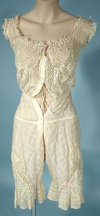 Antique Dress - c. Late 1800's Lacy Split cami bloomers