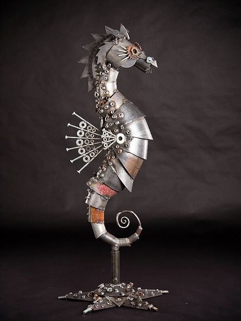 Ironmaidart Seahorse Scrap Metal Sculpture Recycled Metal