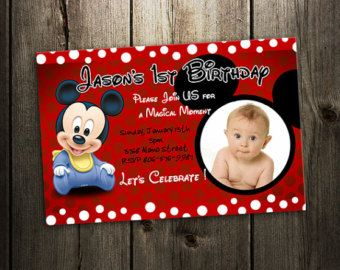 invitation d'anniversaire mickey mouse bébé douche