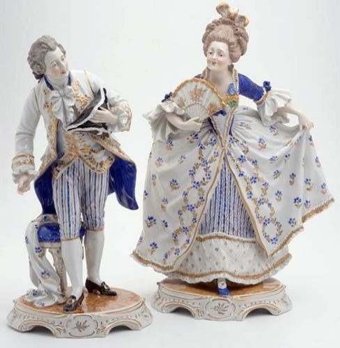 "Dresden Carl Thieme 13"" Large Antique Pair Courting Figurines Germany 