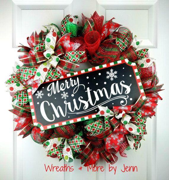 christmas deco mesh wreath merry christmas by wreathsandmorebyjenn - Wreath Design Ideas