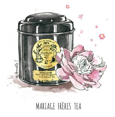 Mariage Frères Tea - Illustration by Armelle Tissier I love this tea!!! specially Marco Polo and blue flowers earl grey...