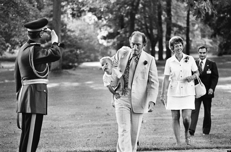 Canadian Prime Minister Pierre Trudeau carries his son, Justin, in the early 1970s. Today Justin Trudeau is the new Canadian Prime Minister.