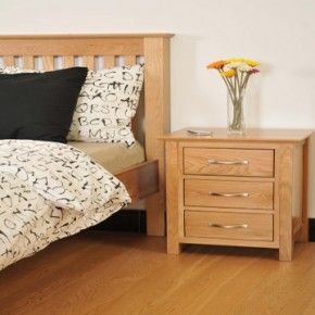 Canterbury Oak Bedroom Set 3FT Bed & Bedside www.easyfurn.co.uk
