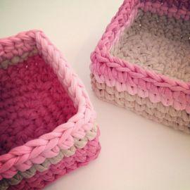 Trapillo T-shirt yarn square & rectangle baskets || by OsaEinaim סלסלות מרובעות סרוגות מחוטי טריקו || עושה עיניים