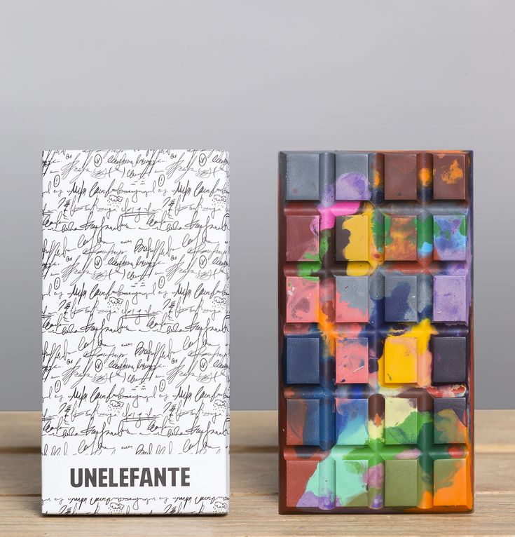Unelefante Chocolates, plain box, unexpected riot of color on the mold makes the experience even more delightful