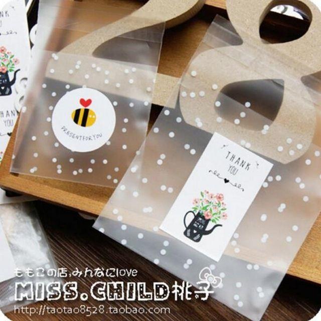 100 шт. Белые Точки Прозрачный Матовый OPP Пластиковые Рождественский Подарок Сумку День Рождения Свадьба Cookie Упаковки Конфет мешок BZ012