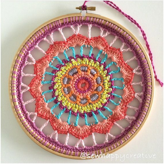 Mandala de Dreamcatcher del ganchillo / tapete atrapasueños hechos a mano, decoración casera, decoración de la pared que cuelga, decoración de ganchillo.