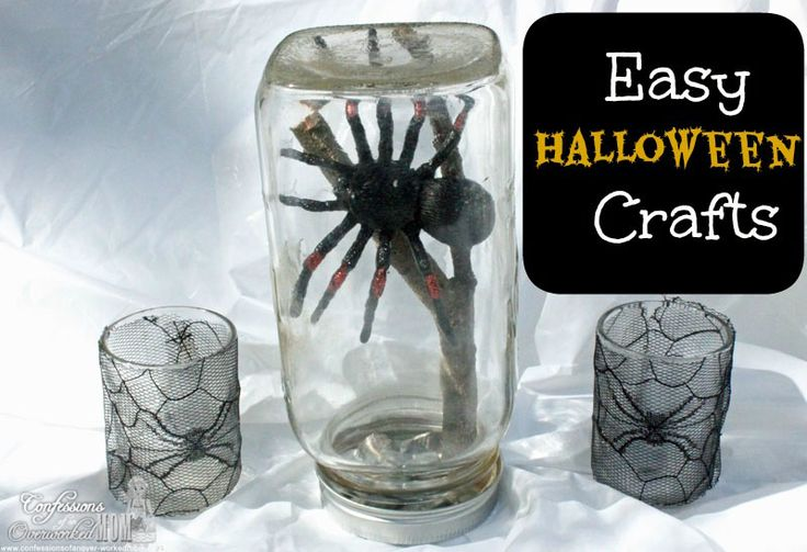 Easy #Halloween craft ideas. Spider in a Mason jar. Lace spider wrapped candle holders. #sponsored