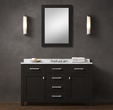 Guest Bathroom Vanity with cararra marble top #
