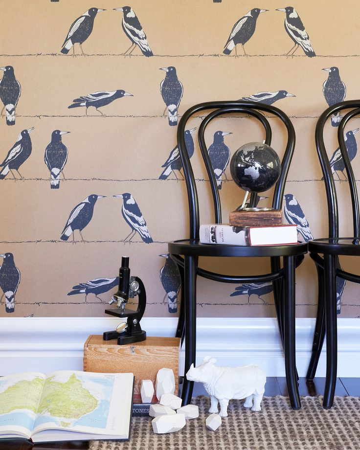 A character filled Australian icon, Magpies in Billy Tea from our recently released Offspring wallpaper collection, is cheeky and fun. In store now!