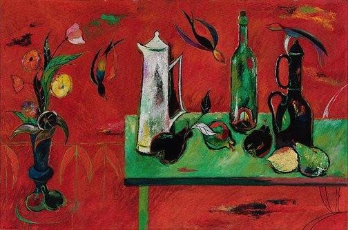 A green table and swallows (1955) by Elwyn Lynn.