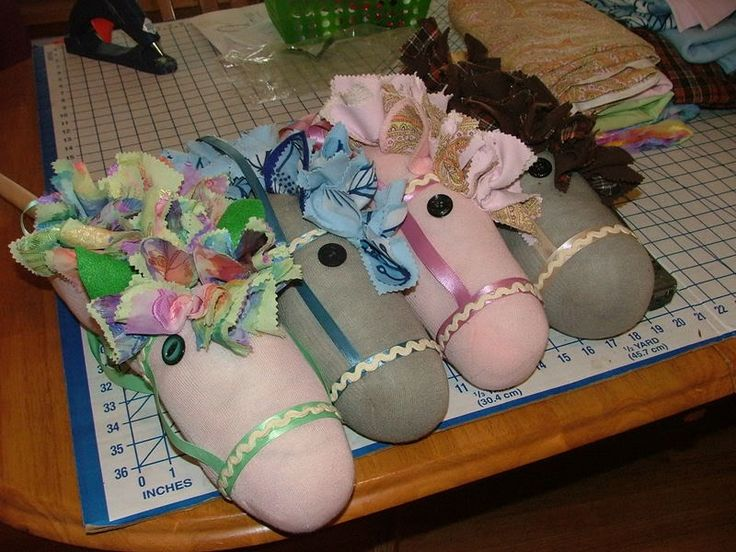 Sock horse tutorial- I think 2 of those horses are members of our household! <3