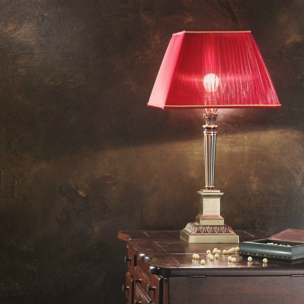 #Antique brass finish table #lamp with a red shade from organza fabric. #lighting #design