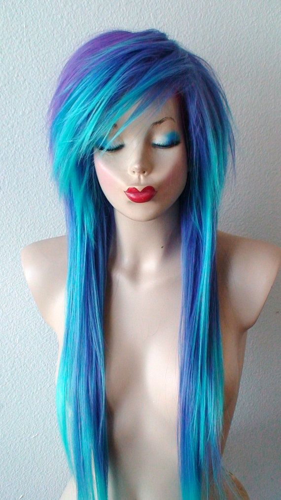 Scene wig. Emo hair Teal/ Purple wig. Long straight by kekeshop