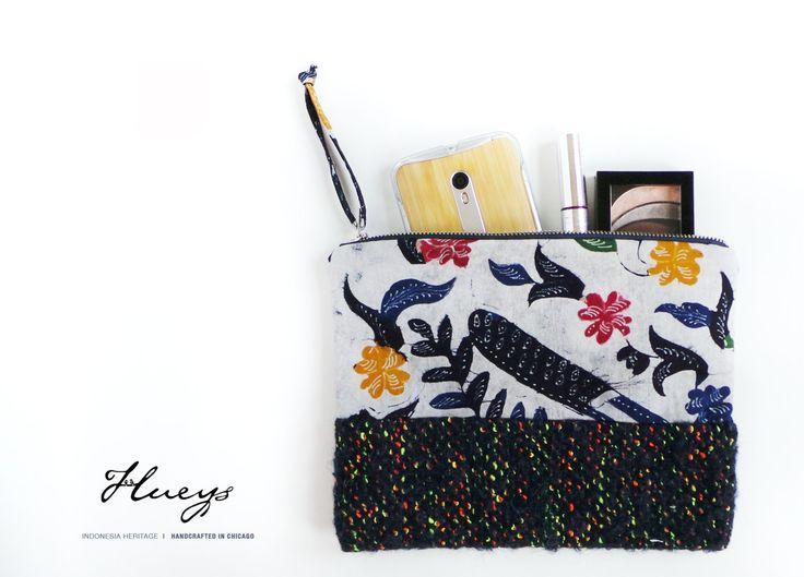 Wristlet, Clutch, Handmade Purse, Pouch, Handmade Bag, Batik handbag, Rainbow…