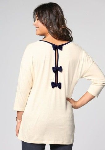 Tričko s kontrastnými mašľami vzadu #ModinoSK