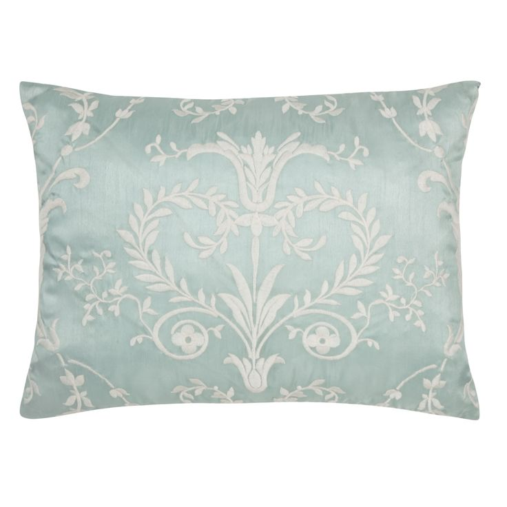 """Josette"" cushion in duck egg turquoise blue with white damask from Laura Ashley."