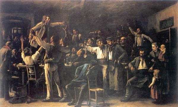 Szrájk (Streik),Mihály von Munkácsy (1844-1900) 1895.                 Öl/Leinwand, 159,3 x 254 cm; bez. u. l.: Munkácsy M 1895.                 Budapest, Ung. Nationalgalerie (2548).