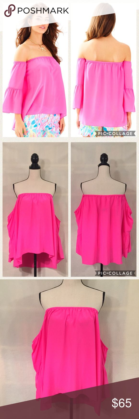 """NWT Lilly Pulitzer hot pink Sanilla 100% silk top NWT. Lilly Pulitzer 'Sanilla' off the shoulder top in pink fusion. A bright neon hot pink! Color most accurate in photo 8. Off the shoulder top with elasticized neckline. Long, peplum/bell sleeves. Sleeves are attached with rest of top at underarm. Unlined, you'll need a nude bandeau or strapless bra, as it's a tiny bit sheer. Tiny bit longer in the back. 100% silk. Measurements (flat): elastic neckline 16.5-24.5"""", waist 29.5"""" (flowy), length…"""