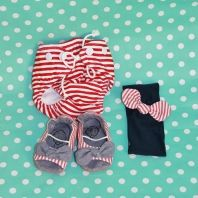 Gorgeous baby shower gift set - swim cozzie, headband and matching shoes