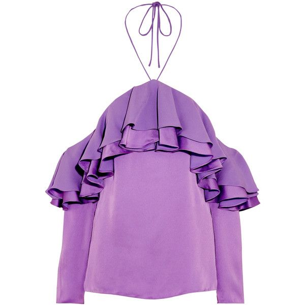 Emilio Pucci Off-the-shoulder ruffled satin and crepe blouse ($890) ❤ liked on Polyvore featuring tops, blouses, off the shoulder ruffle blouse, crepe blouse, summer blouses, purple blouse and halter top