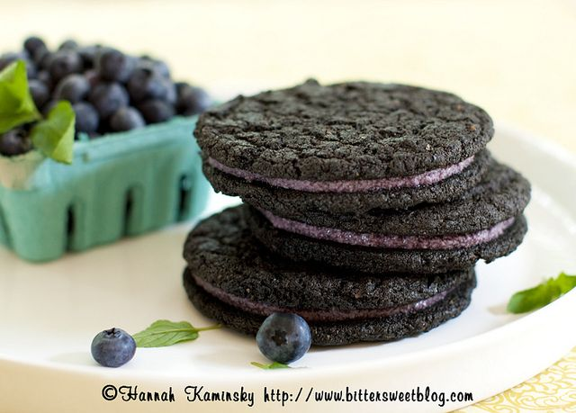 BLACK AND BLUEBERRY SANDWICH COOKIES Black Cocoa Cookies: 10 Tablespoons Non-Dairy Margarine  1 Cup Granulated Sugar  2 Tablespoon Flax Seeds, Ground  1 1/2 Cups All Purpose Flour  1/3 Cup Black Cocoa Powder  1 Teaspoon Baking Soda  1/4 Teaspoon Salt  2 Tablespoons Plain Non-Dairy Milk  1/4 Teaspoon Vanilla Extract    Blueberry Creme Filling:    4 Ounces Vegan White Chocolate Chips  3/4 Cup Blueberries, Fresh or Frozen and Thawed  1/4 Cup Non-Dairy Margarine  1/2 Cup Confectioner's Sugar