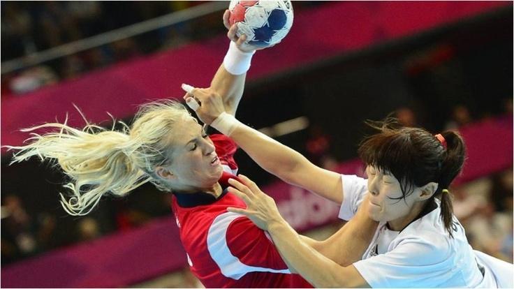 Norway's Linn Jorum Sulland vies with South Korea's centreback Jihae Jung during the women's handball match at Copper Box
