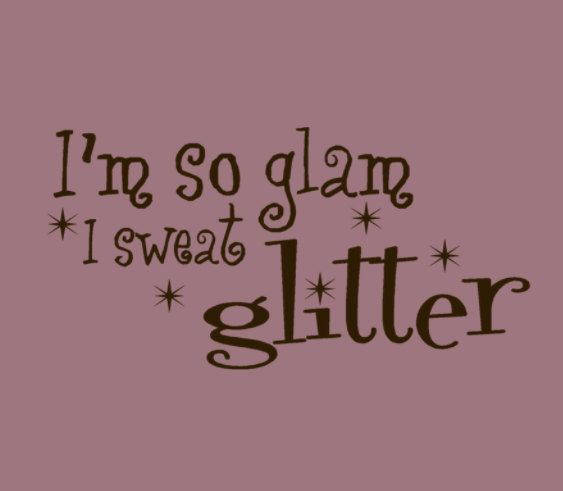 Im So Glam I sweat Glitter Wall Words Decal Quote with tiny star sparkles Yoga, Fitness, Fashion Vinyl Decal. $19.00, via Etsy.