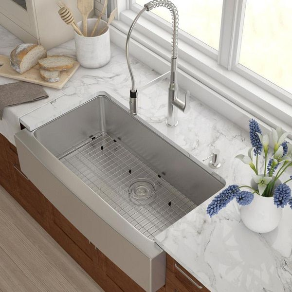 Kraus 36 Inch Farmhouse Single Bowl Stainless Steel Kitchen Sink