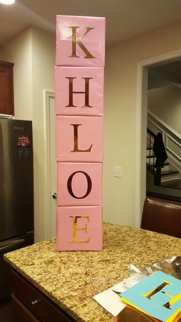 Email bellaeventplanningatl@gmail.com  for your order.  Baby name blocks.