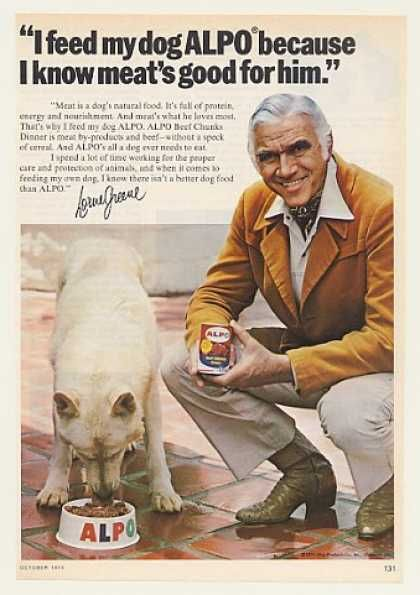 Lorne Greene White German Shepherd Alpo Dog Food (1975) -- Also was good in TACO's in the 70's ... !!