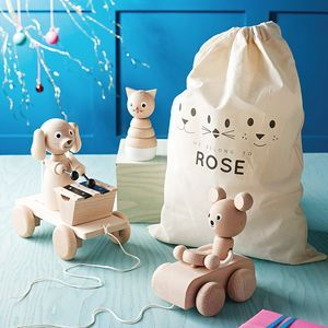 Personalised Toy Bag Bundle. Discover thoughtful, cute and wonderfully unique gifts for children this Christmas. You won't be short of ideas.