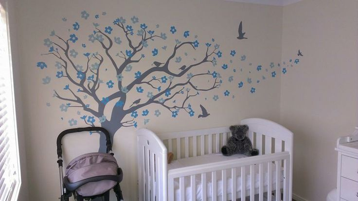 www.vinylimpression.co.uk Cherry Blossom tree with birds makes such a cute addition to a little persons bedroom...Cute!
