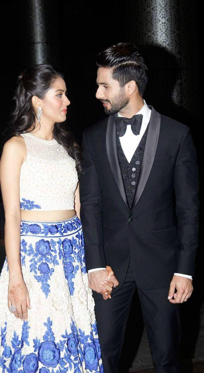 Shahid Kapoor and Mira Rajput at their wedding reception. #Bollywood #ShahidMiraReception #ShahidKiShaadi #Fashion #Style #Beauty #Handsome