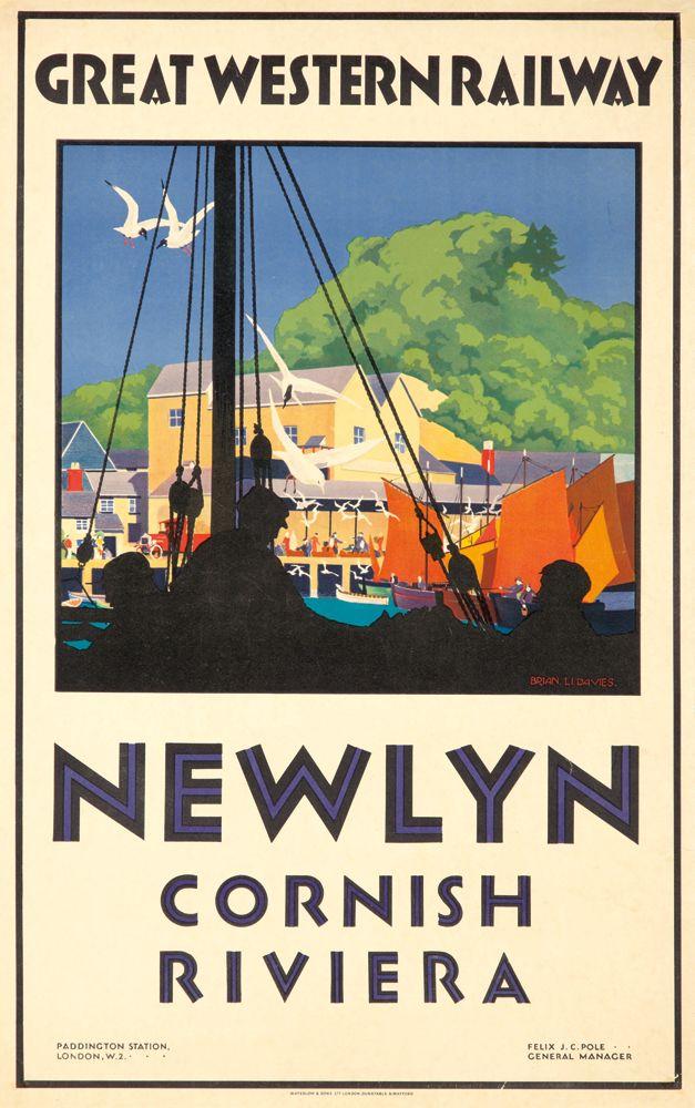 "ENGLAND - CORNWALL - Artist: BRIAN LI. DAVIES Waterlow, London A sun-dappled view of the port of Newlyn, the ""Cornish Riviera."""