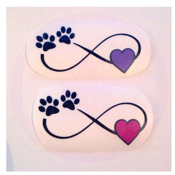 Heart Shaped Paw Prints Tattoos: Infinity With Paw Print And Heart Decal Many Color Options