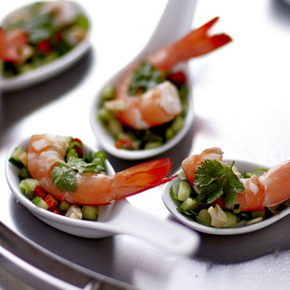 Mini thai prawn salads with coconut dressing fish is the for Prawn cocktail canape