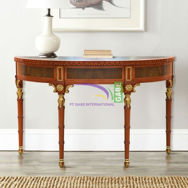 #console table halfmoon #european #classic design. Made from solid #mahoganywood #handmade by #gabeart more products and design visit www.gabeart.com