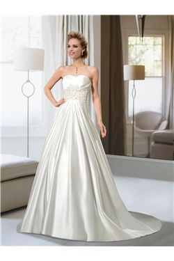 A-line Elegant & Luxurious Floor-Length Short Sleeves Beading Sweetheart Zipper-up Button Wedding Dress