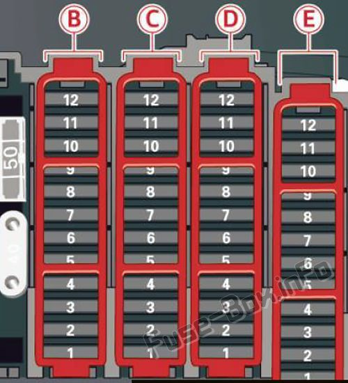 Audi Q5  8r  2009  2010  2011  2012  Fuse Box Diagram