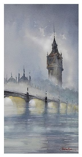 london - fog II by Thomas W. Schaller Watercolor ~ 21 inches x 11 inches
