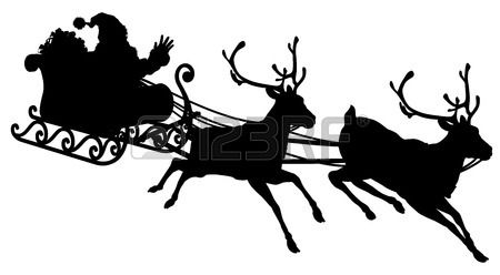 Santa Sleigh Silhouette illustration of Santa Claus in his sleigh flying through the sky being pulled by his reindeer