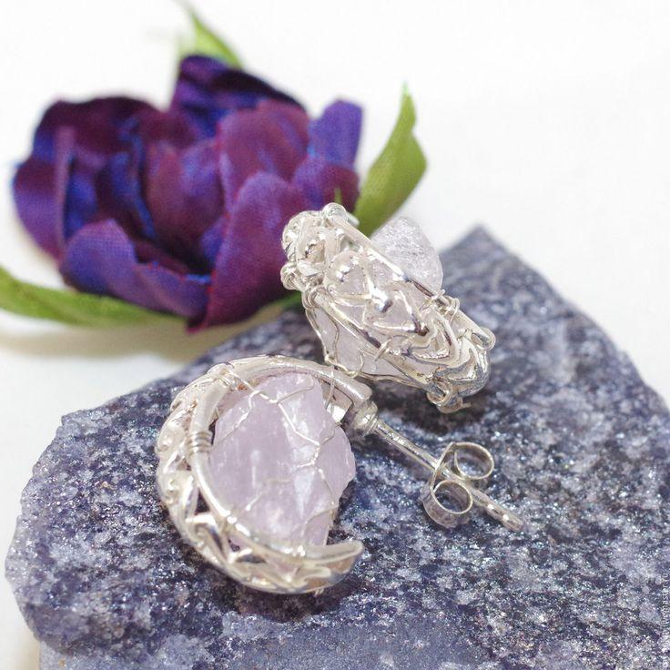 Купить Розовые облака. Серебряные серьги с кунцитом - бледно-розовый, натуральный кунцит, природный кунцит