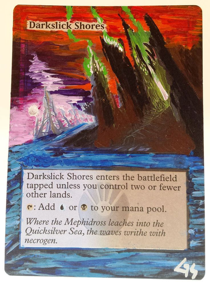 MTG Altered Art Darkslick Shores Hand Painted Full Art OOAK Rare Magic Card #WizardsoftheCoast Nice~