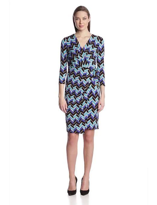 Anne Klein Women's 3/4 Sleeve Jersey Sarong Dress, Turquoise Multi, 12